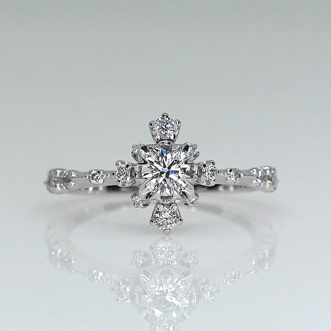 Snowflake Gold or Platinum engagement ring with Diamonds i1509DiDi - GIA