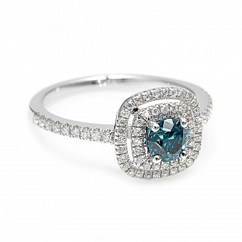Inel de logodna i1903DbDi din Aur sau Platina cu Diamant Albastru si Diamante