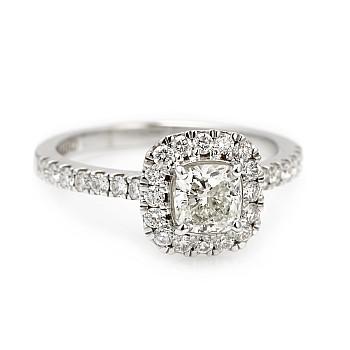 Inel de logodna i1905DchDi din Aur sau Platina cu Diamant Cushion Cut