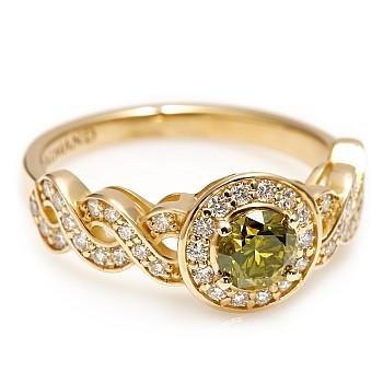 Inel de logodna i2675DVDI din Aur sau Platina cu Diamant Verde si Diamante