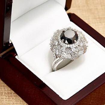 Inel de logodna i2699DnDi din Aur cu Diamant Negru si Diamante Secundare