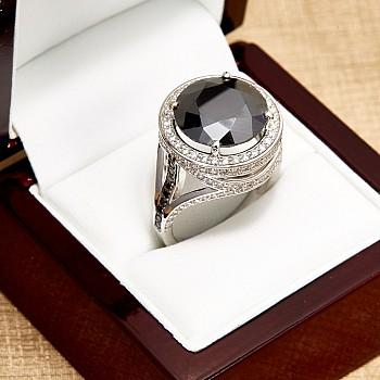 Inel de logodna i2713DnDi din Aur cu Diamant Negru si Diamante Secundare