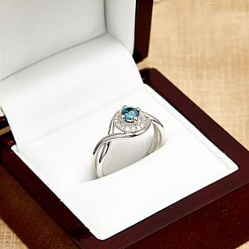 Inel de logodna i590dbdi din Aur cu Diamant Albastru si Diamante Secundare