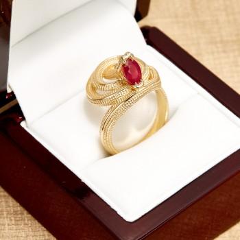 Inel Sarpe i2714 din Aur cu Rubin si Diamante