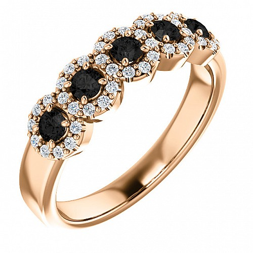 Anniversary ring from Gold with Black and Colorless Diamonds i122830Dndi