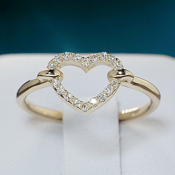 Inel Cadou i345didi din Aur cu Diamante in Forma de Inima