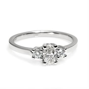 Inel de logodna i015DovDi din Aur cu Diamant Oval certificat GIA