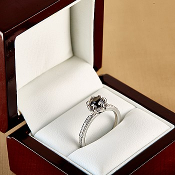 Engagement Ring i121997DnDi with Black Diamond and Colorless Diamonds from Gold or Platinum