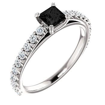 Inel de logodna i122096DnPDi din Aur sau Platina cu Diamant Negru Princess si Diamante