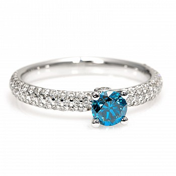 Inel de logodna i122097DbDi din Aur cu Diamant Albastru