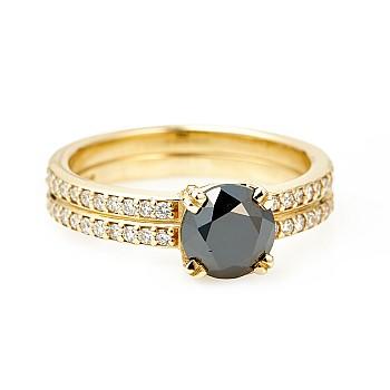 Inel de logodna i122376DnDi din Aur sau Platina cu Diamant Negru si Diamante