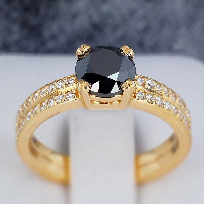Gold or Platinum engagement ring with Black Diamond and Colorless Diamonds 122376DnDi