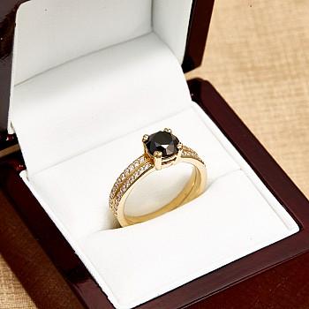 Inel de logodna i122376DnDi din Aur cu Diamant Negru