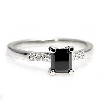 Inel de logodna i123001DneDi din Aur cu Diamant Negru Emerald Cut si Diamante secundare