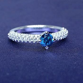 Inel din Platina cu Diamant Albastru si Diamante p906Dbdi Signature