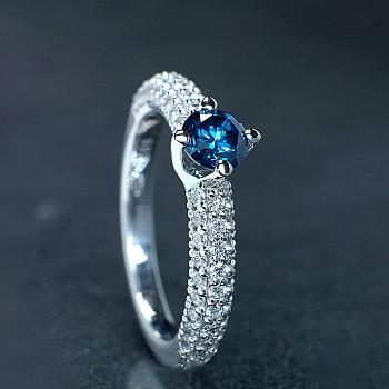 Inel Cadou i906Dbdi din Aur sau Platina cu Diamant Albastru si Diamante