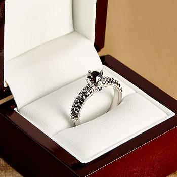 Inel de logodna i906DnDn din Aur sau Platina cu Diamante Negre