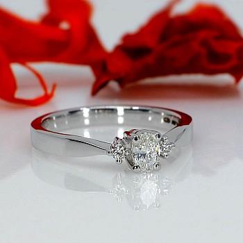 Inel de logodna i0201Dovdi din Aur sau Platina cu Diamant Oval si Diamante