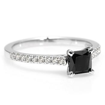 Inel de logodna i2621DnPDi din Aur sau Platina cu Diamant Negru Princess si Diamante