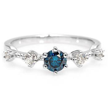 Inel de logodna i2649Dbdi din Aur sau Platina cu Diamant Albastru si Diamante Incolore