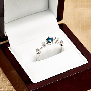 Inel de logodna i2649Dbdi din Aur cu Diamant Albastru