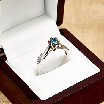 Inel de logodna i2718DB din Aur sau Platina cu Diamant Albastru