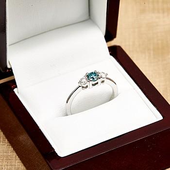Inel de logodna i2748DbDi din Aur sau Platina cu Diamant Albastru si Diamante