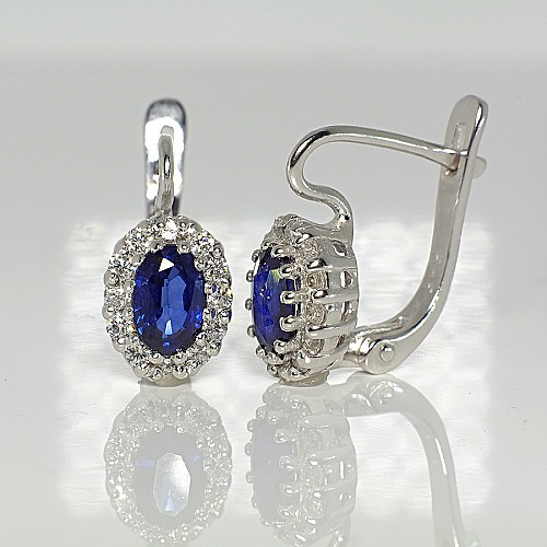 Gold earrings with Sapphires and Diamonds c072SfDi