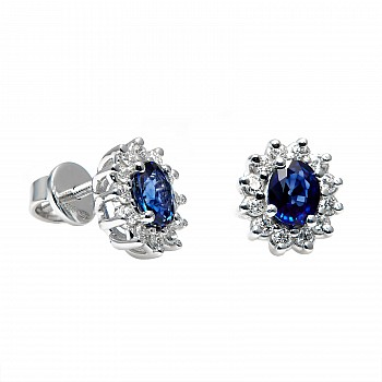 Earrings c042006sfdi with Sapphires and Diamonds from Gold