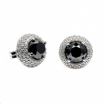 Earrings c122091Dndi with Black and Colorless Diamonds from Gold