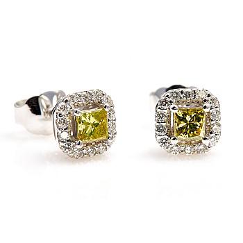 Cercei c122830dypdi din Aur cu Diamant Galben Princess si Diamante