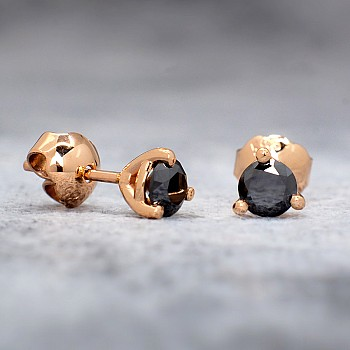 Gold or Platinum stud earrings with Black Diamonds c24062DN