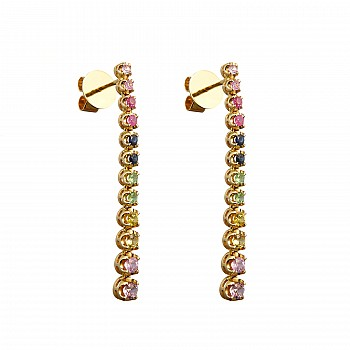 Gold earrings c2442sf with multicolour Stones