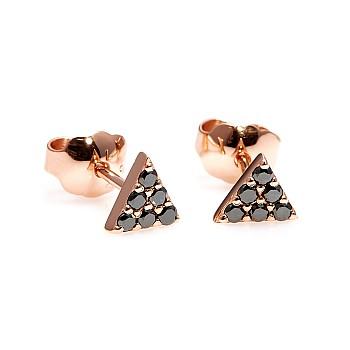 Cercei Triunghi c2769dn din Aur cu Diamante Negre