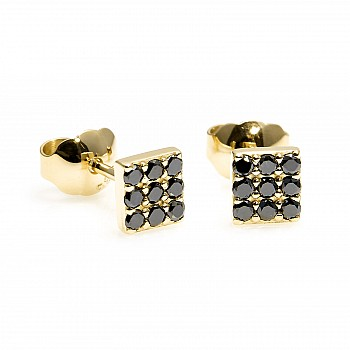 Cercei Patrati c2769dn din Aur cu Diamante Negre