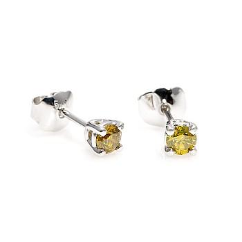 Cercei Stud c577dy din Aur cu Diamante Galbene