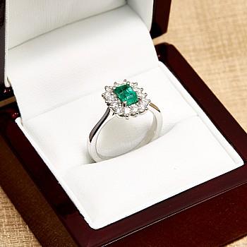 Inel cadou i055SmEmDi din Aur cu Smarald Emerald si Diamante