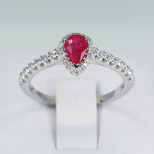Gold or Platinum ring with Pear cut Ruby and Diamonds i1192RbPaDi