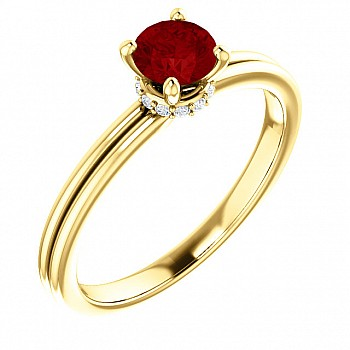 Gold engagement ring with Ruby and Diamonds 122059RbDi