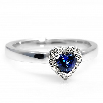 Inel Cadou i122060SfHDi din Aur sau Platina cu Safir Inima si Diamante