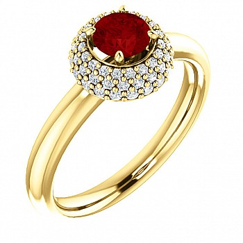 Gold engagement ring with Ruby and Diamonds 122091RbDi