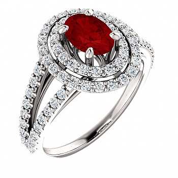 Gold engagement ring with Ruby and Diamonds 122101RbODi