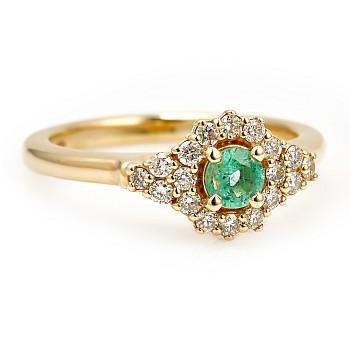 Inel de logodna i122650SmDi din Aur cu Smarald si Diamante