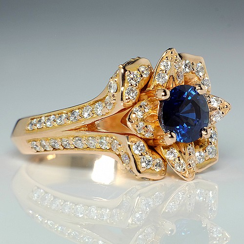 Anniversary ring from Gold with Sapphire and Diamonds i171SfDi