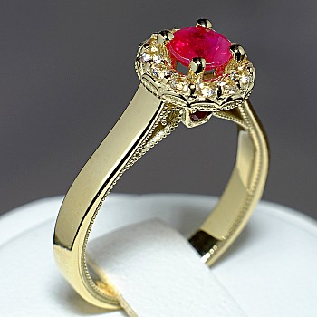 Gift Ring i524 with Ruby and Diamonds from Gold