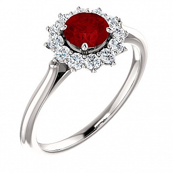 Gold engagement ring with Ruby and Diamonds 71606RbDi