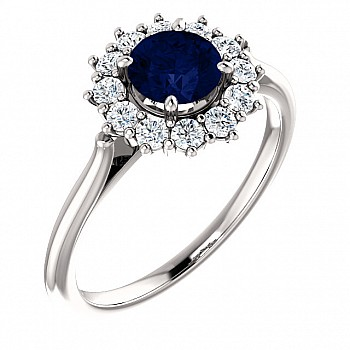 Gift Ring i71606SfDi  with Sapphire and Diamonds from Gold