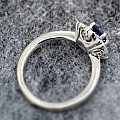 Gold engagement ring with 4x4 mm Square cut Sapphire and Diamonds i72000SfPdi - Sale