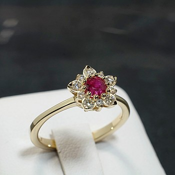 Snowflake Design Engagement Ring i865RbDi with Ruby and Diamonds  from Gold