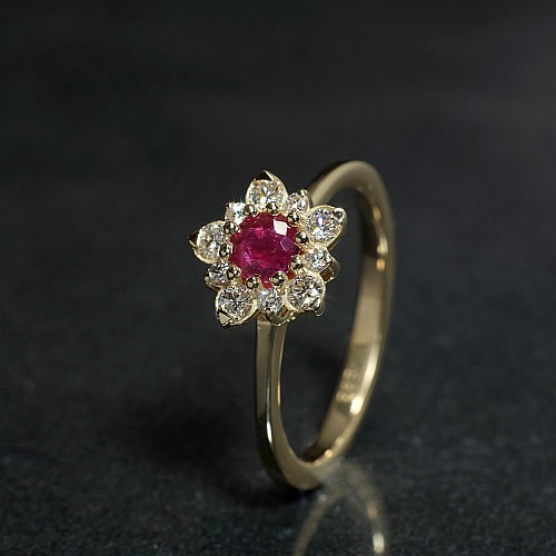 Snowflake design engagement ring from Gold with Ruby and Diamonds 865RbDi